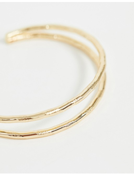 Asos Design Curve Cuff Bracelet In Double Row Engraved Twist Design In Gold Tone by Asos Design