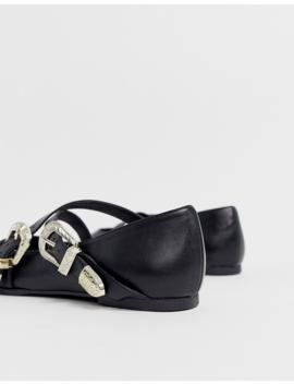 Asos Design Lexicon Pointed Western Ballet Flats In Black by Asos Design