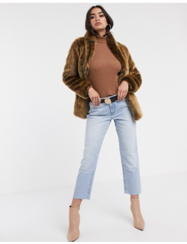 Asos Design Stand Collar Faux Fur Coat In Brown by Asos Design