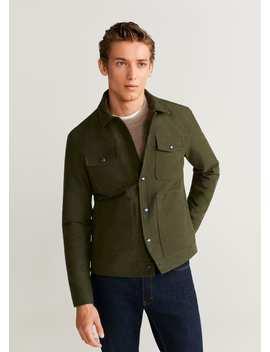 Multi Pocket Leather Jacket by Mango