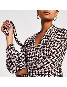 Black Dogtooth Check Tie Neck Blouse by River Island