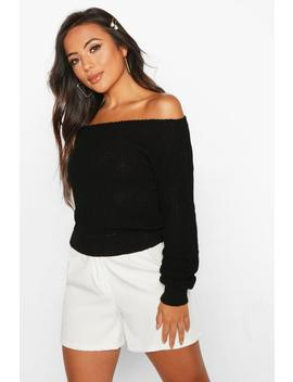 Petite Slash Neck Crop Fisherman Jumper by Boohoo
