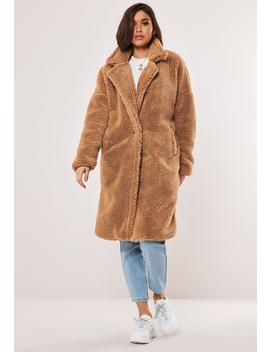 Petite Tan Oversized Borg Teddy Coat by Missguided