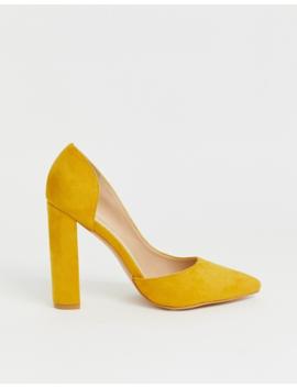 Public Desire Prinny Yellow Suede Block Heeled Shoes by Public Desire