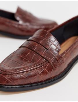 Asos Design Mantra Loafer Flat Shoes In Brown Croc by Asos Design