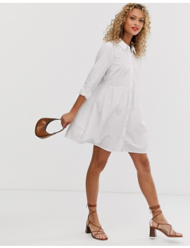 Asos Design Cotton Mini Smock Shirt Dress by Asos Design