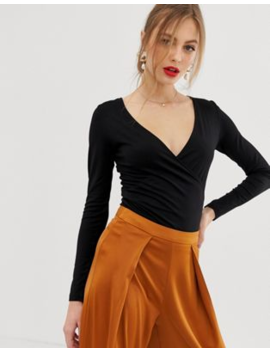 Asos Design – Langärmliges Wickeloberteil In Schwarz by Asos