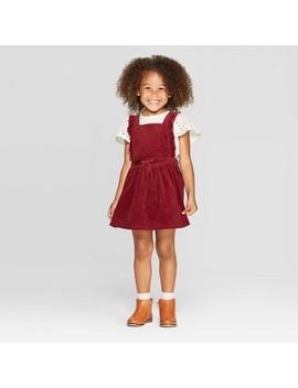 Toddler Girls' Eyelet Top &Amp; Corduroy Skirtall Set   Cat &Amp; Jack Cream/Maroon by Cat & Jack Cream/Maroon