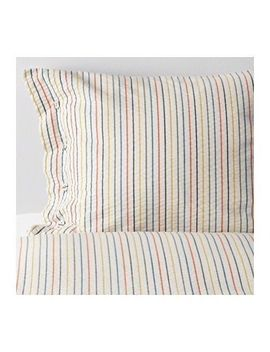 Ikea Rajgras Full Queen Duvet Cover & 2 Pillowcases 803.302.28 White Stripe Bed by Ikea