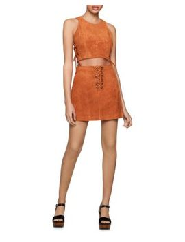 Lace Up Faux Suede Cropped Top & Skirt by Bcbgeneration