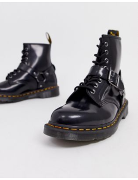 Dr Martens 1460 Harness 8 Eye Boots In Black Polished Smooth by Dr Martens