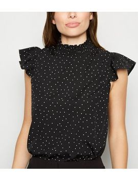 Black Spot Frill High Neck Blouse by New Look