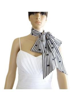 White And Black Stripe Bow Tie Scarf. Stripe Neck Scarf. Apple Print Scarf. by Etsy
