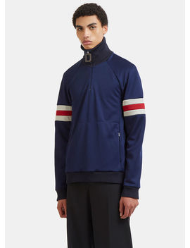 Sports Striped Zip Up Sweater In Blue by Jw Anderson