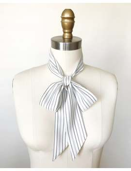 "White &Amp; Black Pinstripe Silk Scarf. 53""X 2"" White Stripe Skinny Scarf. Sash. Menswear Inspired. Silk Neck Scarf. Silk Stripe Scarf. Stripes. by Etsy"