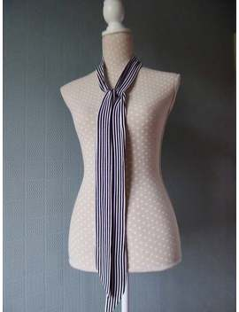 Black And White Striped Skinny Scarf Thin Sixties Tie Retro Mod Pin Striped 1960's Rock And Roll by Etsy