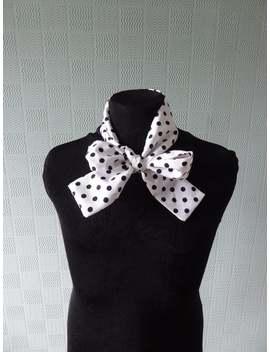 White Polka Dot Skinny Scarf, Polka Dot Bow, Thin Spotted Scarf, Polka Dot Mod Scarf, Polka Dot Hair Scarf/Headband by Etsy