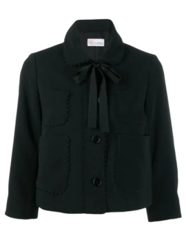 Scalloped Detail Cropped Jacket by Red Valentino
