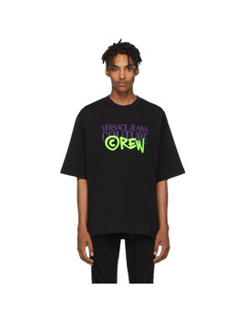 Black Oversize Crew Logo T Shirt by Versace Jeans Couture