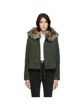 Green Down Fur Cropped Jazzy Jacket by Mr & Mrs Italy