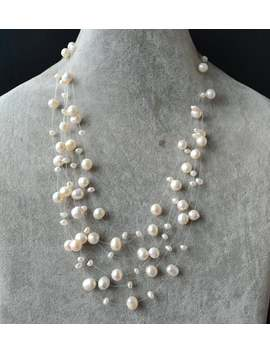 Floating Necklace,Illusion Necklace,Multi Strand Pearl Necklace,6 Rowes 3 8 Mm 17 20 Inch White Freshwater Pearl Necklace,Wedding Necklace by Etsy