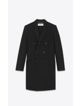 Wool Twill Long Coat by Saint Laurent