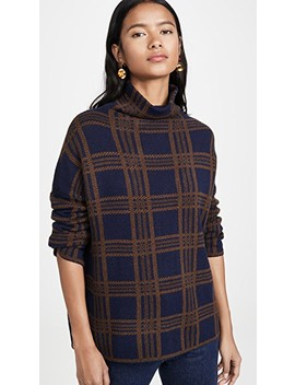Tartan Plaid Funnel Neck Pullover by Vince