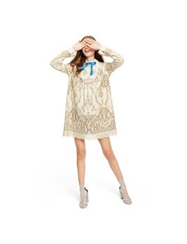Women's Lace Long Sleeve Ribbon Detail Shift Mini Dress   Anna Sui For Target Ivory by Anna Sui For Target Ivory