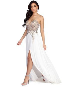 Emeline Beaded Mesh &Amp; Chiffon Dress by Windsor