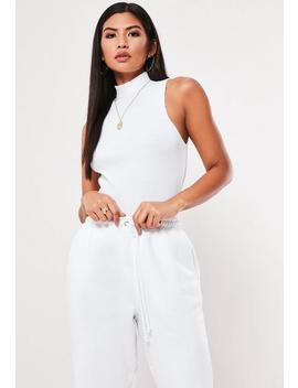 White Ribbed High Neck Sleeveless Tank Top by Missguided