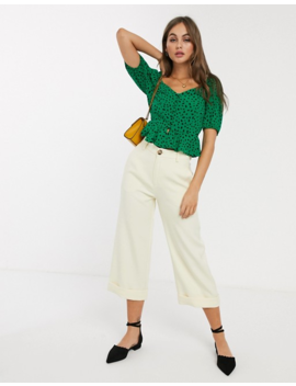 Nobody's Child Button Front Square Neck Crop Top In Green Polka Dot by Nobody's Child