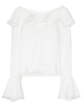Ruffle Trim V Neck Blouse by By Ti Mo