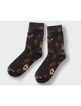 Honey Bee Socks   Black Printed Floral by Etsy