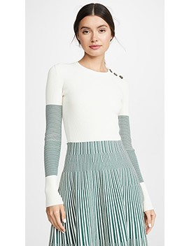Contrast Sleeve Sweater by Cedric Charlier