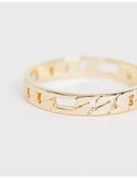 Asos Design Thumb Ring In Fine Curb Chain Design In Gold Tone by Asos Design