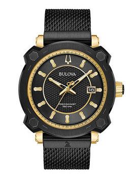 Men's Precisionist Grammy® Black Stainless Steel Mesh Bracelet Watch 44mm by General