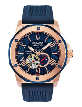Men's Automatic Marine Star Blue Silicone Strap Watch 45mm by General