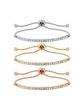 Pack Of 3  Mixed Plate Pave Bar Toggle Bracelet by Mood