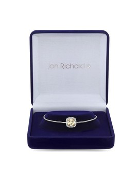 Silver Plated Yellow Cubic Zirconia Cushion Square Toggle Bracelet by Jon Richard