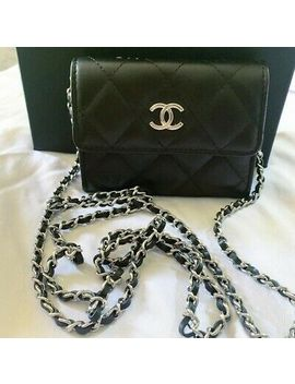 New Chanel Mini Card Holder Clutch Wallet On Chain In Black Lambskin by Chanel