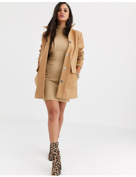 Asos Design Petite Hooded Slim Coat In Camel by Asos Design
