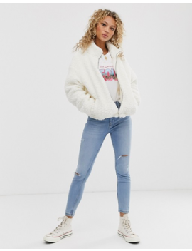 New Look Zip Through Fleece In Cream by New Look