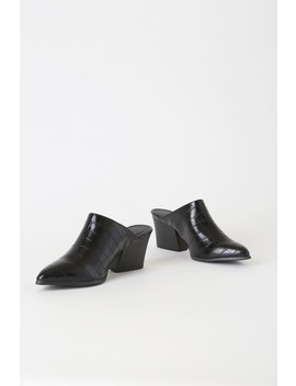 Meredith Black Crocodile Pointed Toe Mules by Lulu's