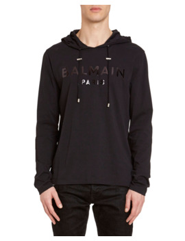 Men's Tonal Logo Hooded T Shirt by Balmain