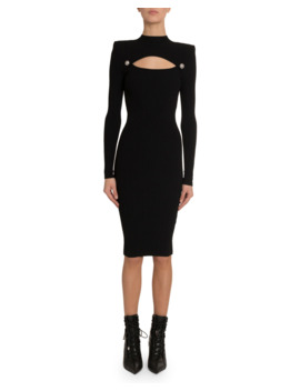 Cutout Knit Midi Dress by Balmain