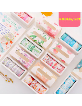 5 Rolls/Pack Washi Tape Set Lavender Sakura Theme Adhesive Masking Tape Diy Decoration Sticker For Scrapbooking Planner by Ali Express.Com
