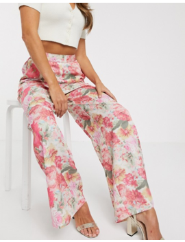 Asos Design Wide Leg Pant In Blurred Floral Print by Asos Design