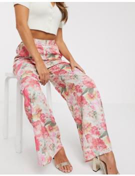 asos-design-wide-leg-pant-in-blurred-floral-print by asos-design