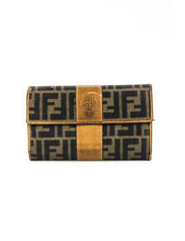 fendi-womens-vintage-zucca-printed-tri-fold-cardholder-wallet-brown-leather by fendi