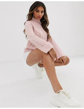 Boohoo Roll Neck With Cable Detail In Baby Pink by Boohoo